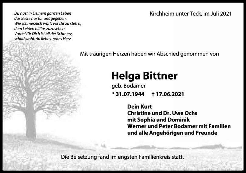 Trauer Helga Bittner <br><p style=
