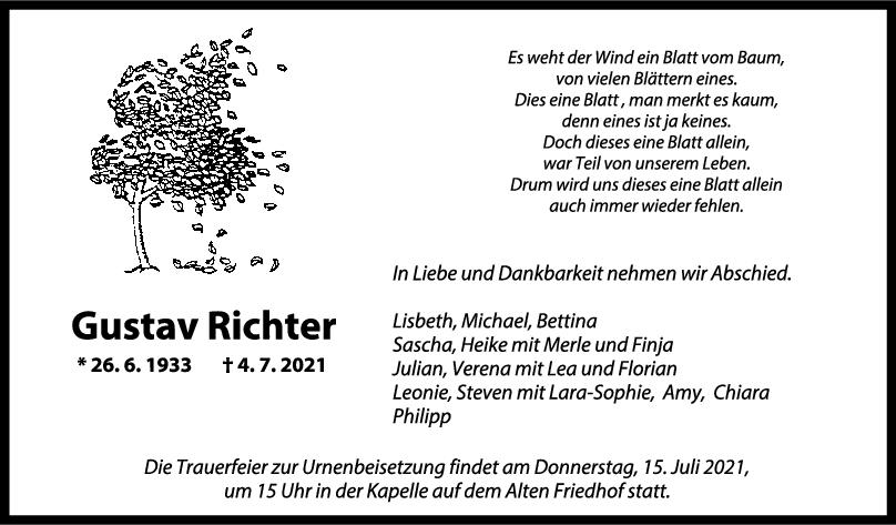 Trauer Gustav Richter <br><p style=
