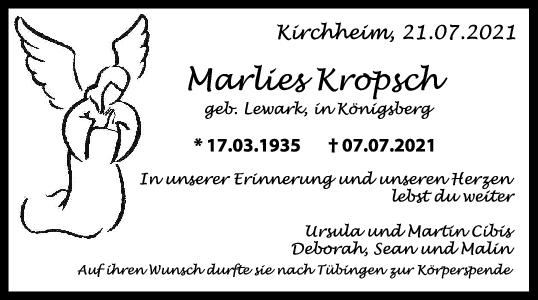 Trauer Marlies Kropsch <br><p style=