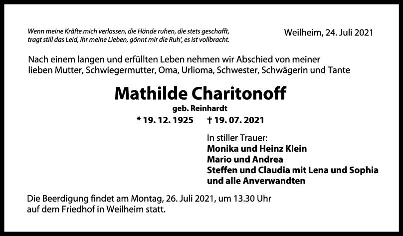 Trauer Mathilde Charitonoff<br><p style=