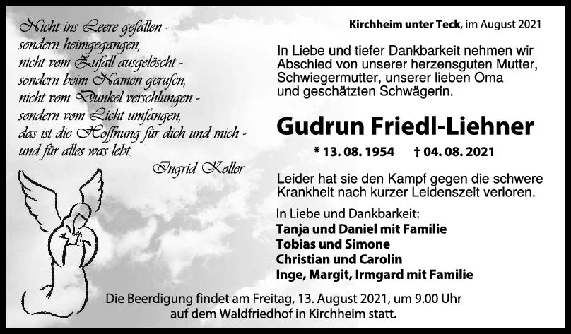 Trauer Gudrun Friedl-Liehner <br><p style=