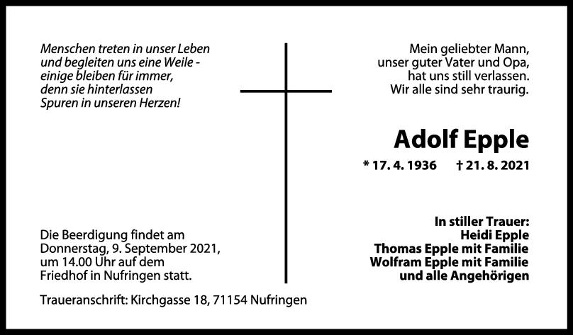 Trauer Adolf Epple <br><p style=