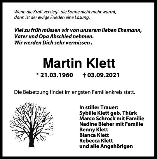 Trauer Martin Klett <br><p style=