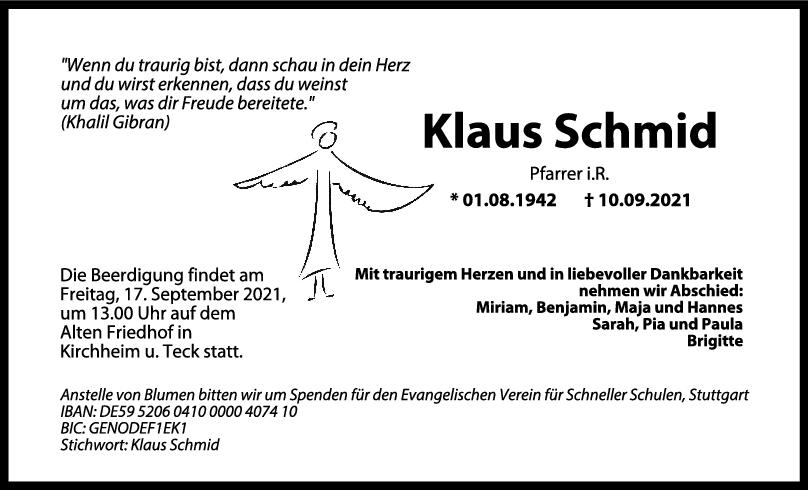 Trauer Klaus Schmid <br><p style=