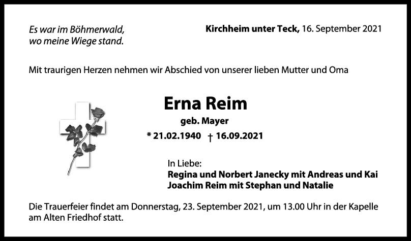 Trauer Erna Reim <br><p style=