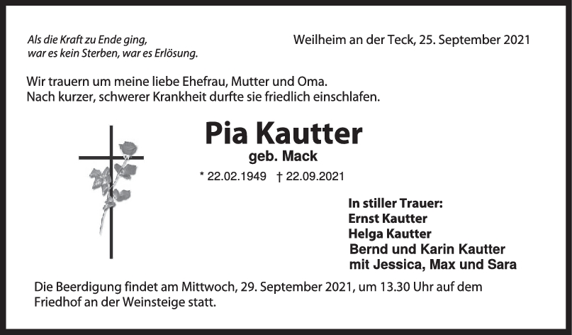 Trauer Pia Kautter <br><p style=