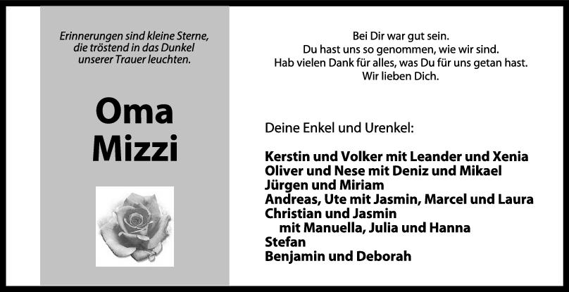 Trauer Oma Mizzi <br><p style=