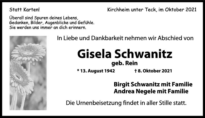 Trauer Gisela Schwanitz <br><p style=