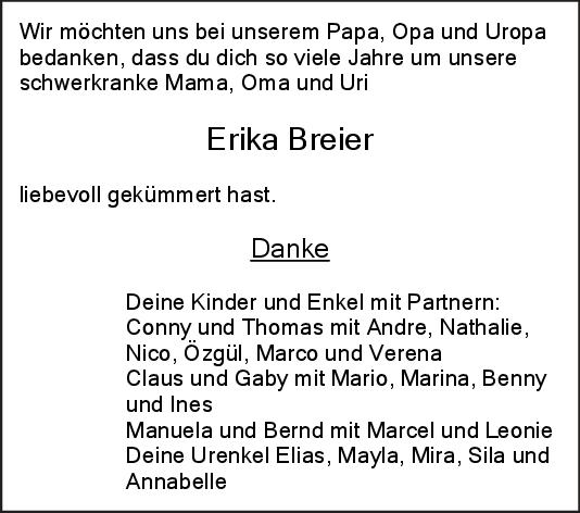Trauer Erika Breier <br><p style=