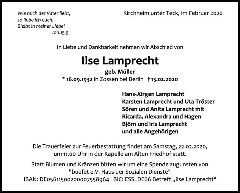 Trauer Ilse Lamprecht <br><p style=