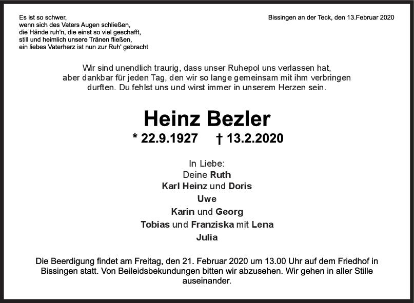 "Trauer Heinz Bezler <br><p style=""font-size: 10px; text-align: center;"">19/02/2020</p>"
