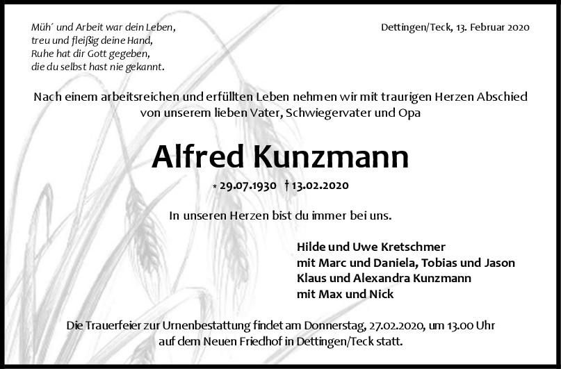 Trauer Alfred Kunzmann <br><p style=