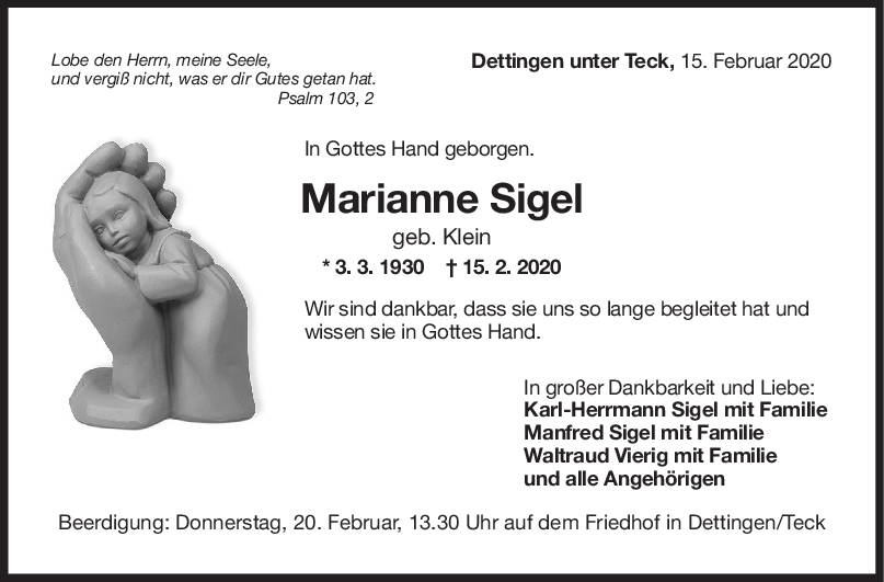 """Trauer Marianne Sigel <br><p style=""""font-size: 10px; text-align: center;"""">18/02/2020</p>"""