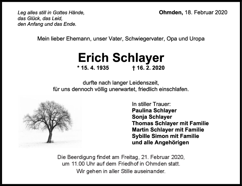 "Trauer Erich Schlayer <br><p style=""font-size: 10px; text-align: center;"">18/02/2020</p>"