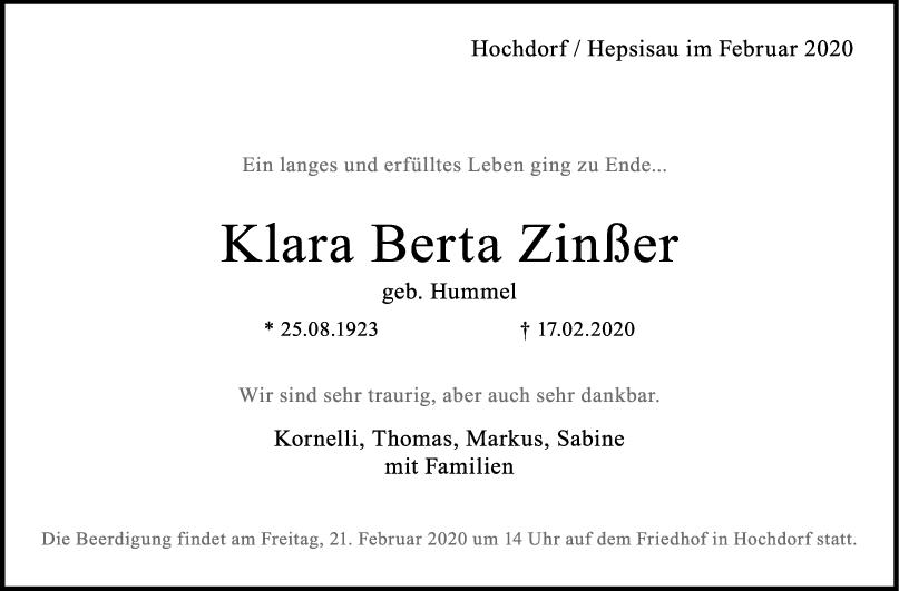 Trauer Klara Berta Zinßer <br><p style=