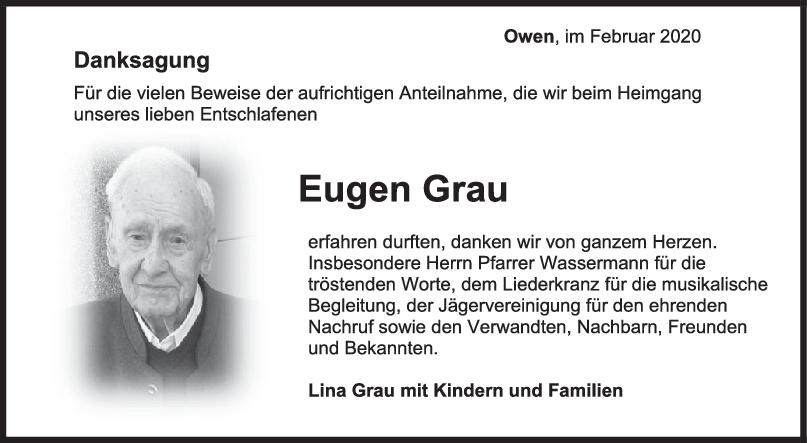 Danksagung Eugen Grau <br><p style=