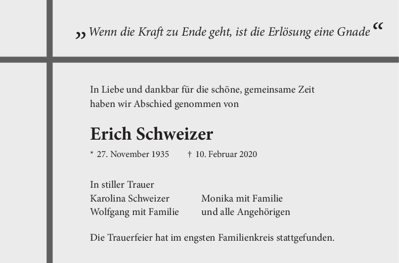 Trauer Erich Schweizer <br><p style=