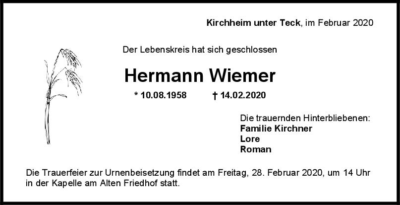 Trauer Hermann Wiemer <br><p style=