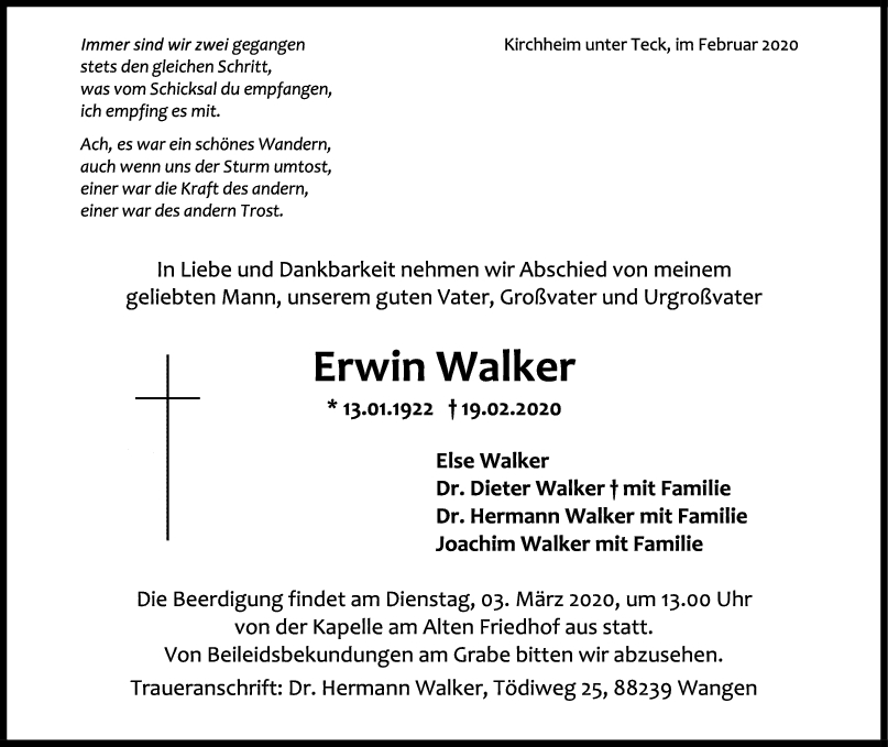 """Trauer Erwin Walker <br><p style=""""font-size: 10px; text-align: center;"""">22/02/2020</p>"""
