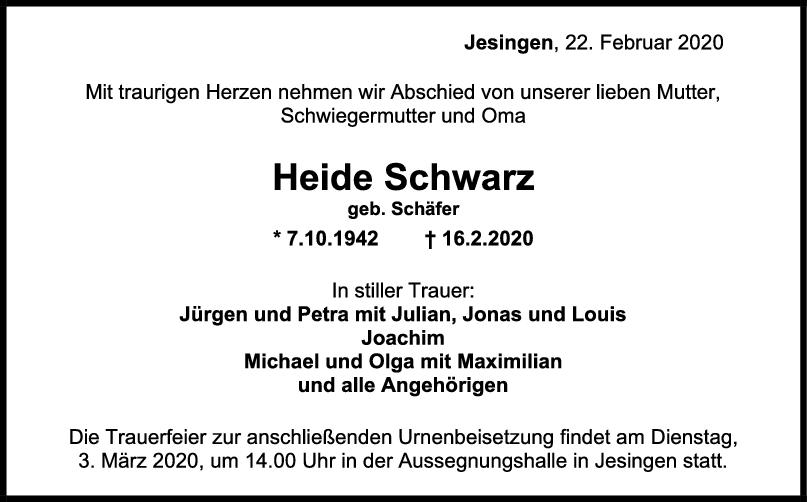 Trauer Heide Schwarz <br><p style=
