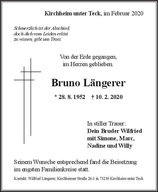 "Trauer Bruno Längerer <br><p style=""font-size: 10px; text-align: center;"">26/02/2020</p>"