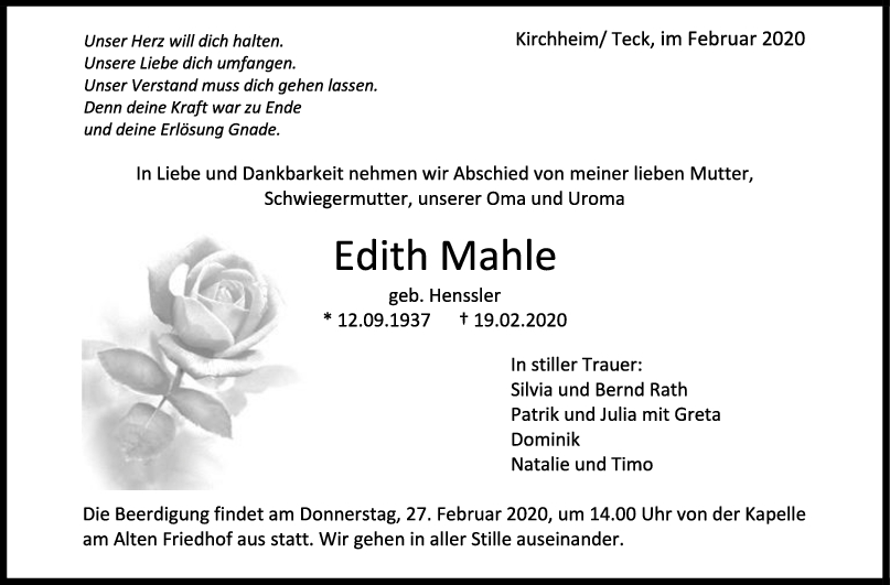 Trauer Edith Mahle <br><p style=