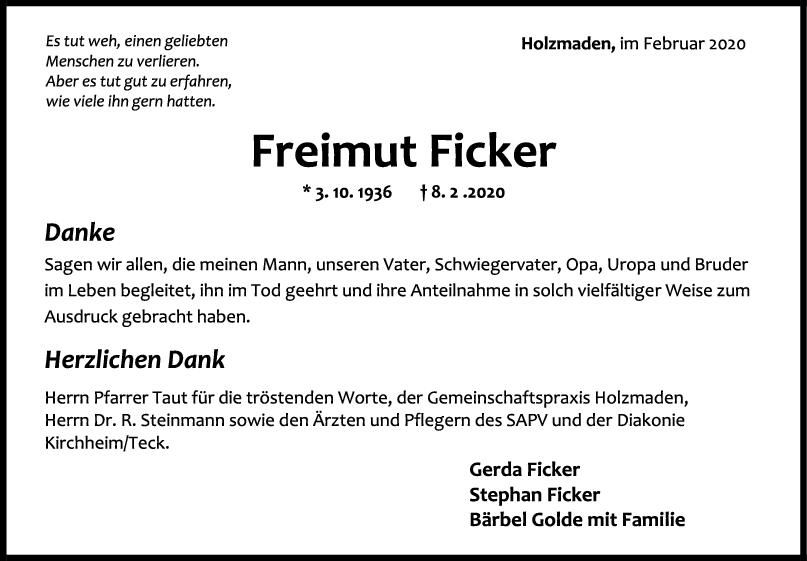 Danksagung Freimut Ficker <br><p style=