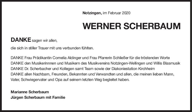 Danksagung Werner Scherbaum <br><p style=