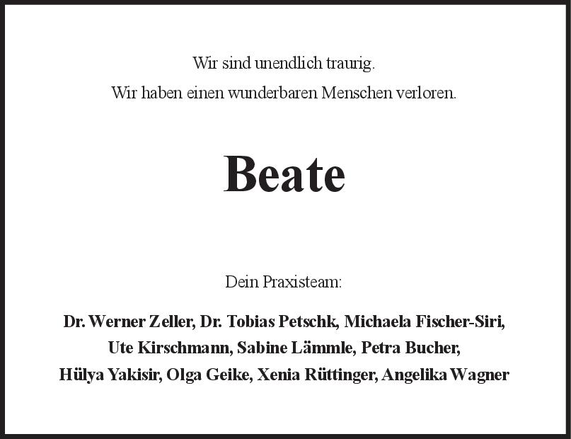 Nachruf Beate <br><p style=
