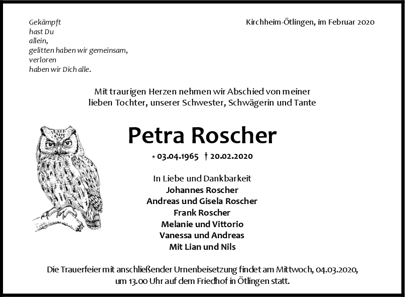 Trauer Petra Roscher <br><p style=