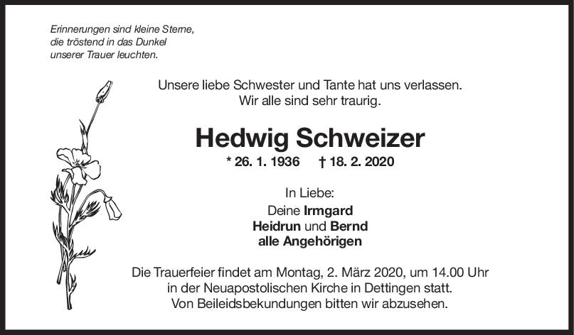 Trauer Hedwig Schweizer <br><p style=