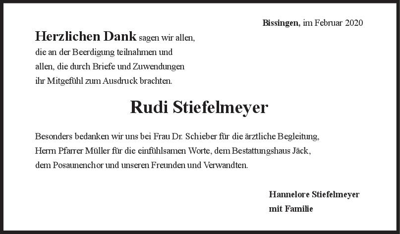 Danksagung Rudi Stiefelmeyer <br><p style=