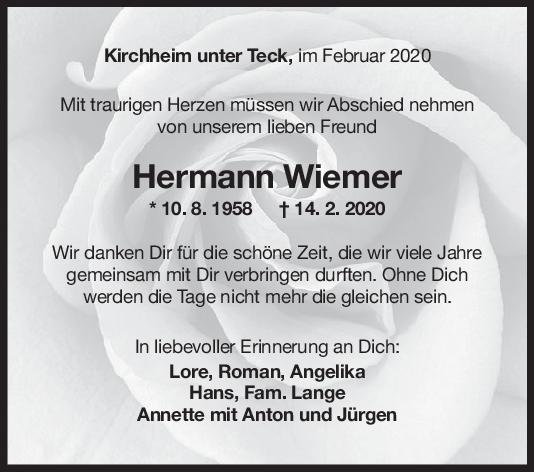 Nachruf Hermann Wiemer <br><p style=