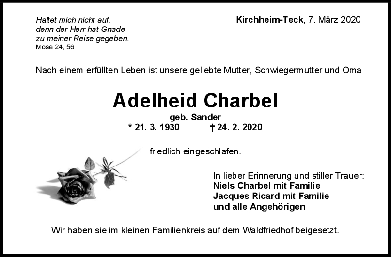 "Trauer Adelheid Charbel <br><p style=""font-size: 10px; text-align: center;"">07/03/2020</p>"