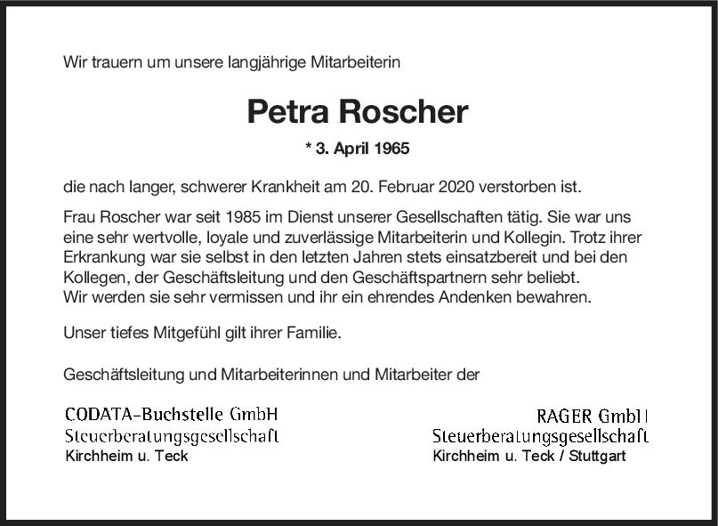"Nachruf Petra Roscher <br><p style=""font-size: 10px; text-align: center;"">26/02/2020</p>"