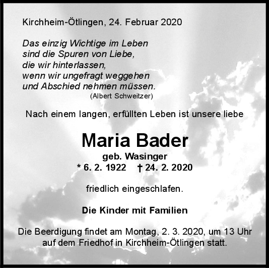 Trauer Maria Bader <br><p style=