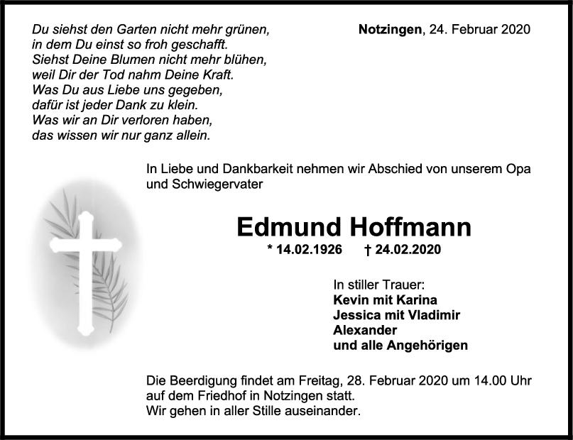 Trauer Edmund Hoffmann <br><p style=