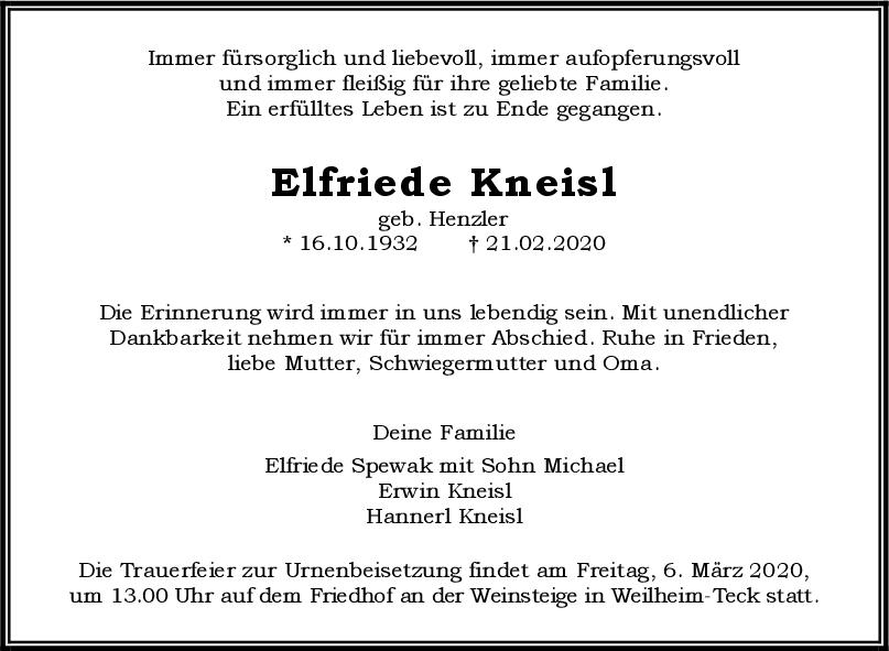 Trauer Elfriede Kneisl <br><p style=
