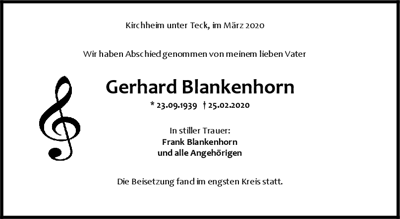 "Trauer Gerhard Blankenhorn <br><p style=""font-size: 10px; text-align: center;"">07/03/2020</p>"