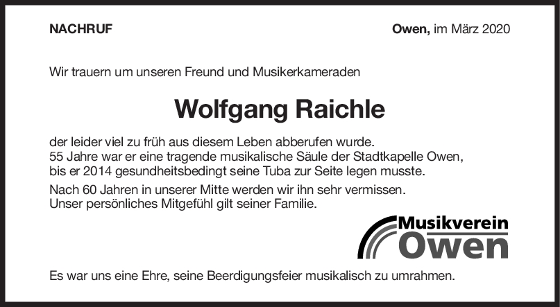 Nachruf Wolfgang Raichle <br><p style=
