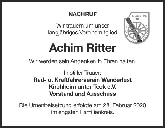 Nachruf Achim Ritter <br><p style=