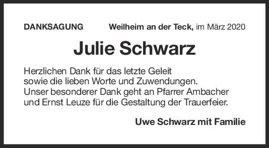 Danksagung Julie Schwarz <br><p style=
