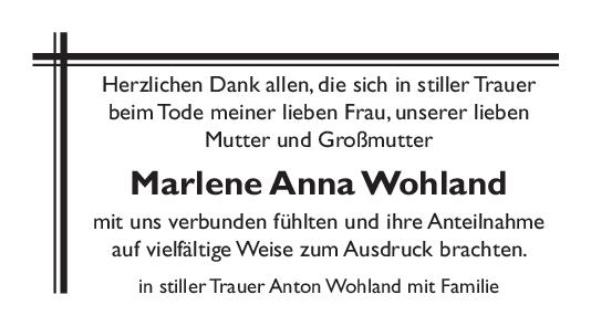Danksagung Marlene Anna Wohland <br><p style=
