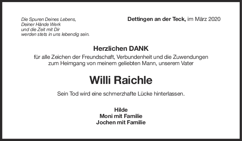 Danksagung Willi Raichle <br><p style=