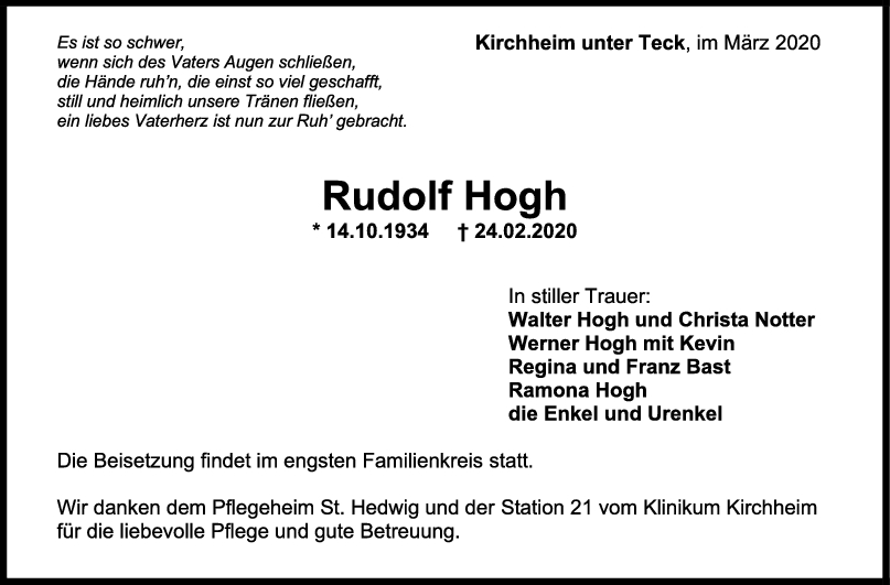 """Trauer Rudolf Hogh <br><p style=""""font-size: 10px; text-align: center;"""">07/03/2020</p>"""