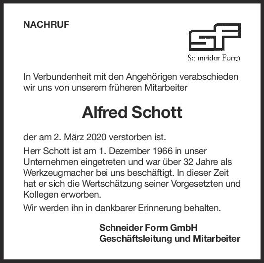 Nachruf Alfred Schott <br><p style=