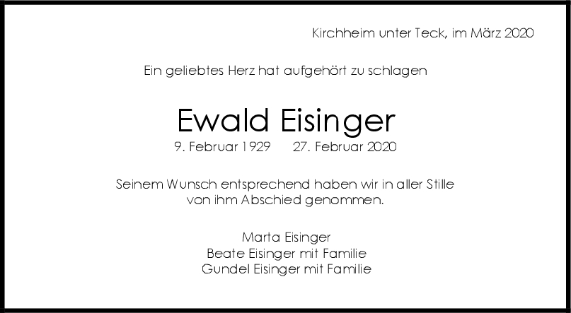 Trauer Ewald Eisinger <br><p style=