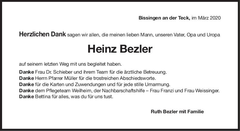 Danksagung Heinz Bezler <br><p style=