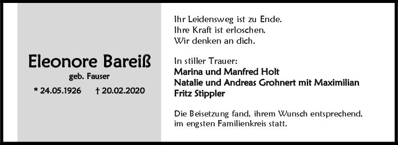 "Trauer Eleonore Bareiß <br><p style=""font-size: 10px; text-align: center;"">09/03/2020</p>"