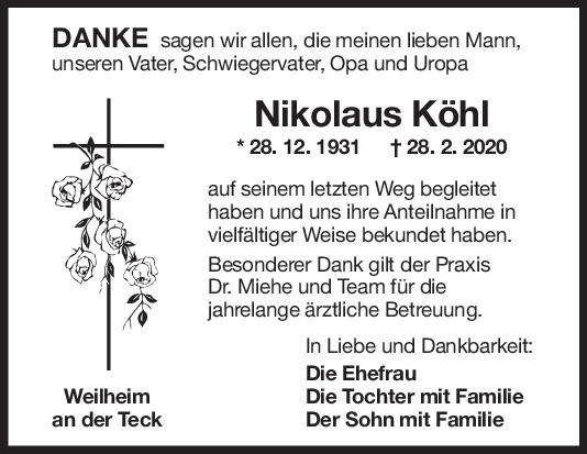 Danksagung Nikolaus Köhl <br><p style=